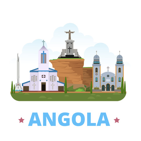 savior: Angola country design template. Flat cartoon style historic sight web vector illustration. World vacation travel Africa African collection. Christ The King Statue Se Cathedral Do Huambo Holy Savior.