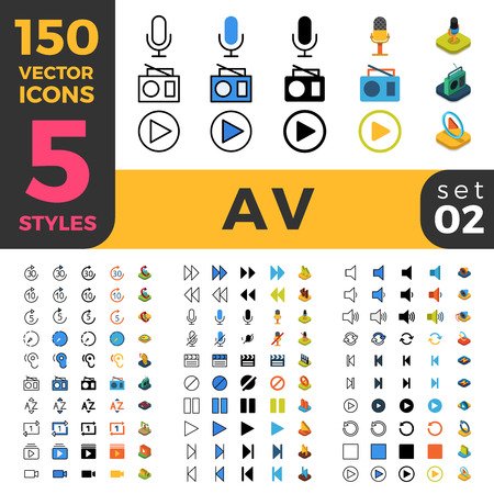 audio video: 150 AV Audio Video media big ui icon set. Linear outline flat isometric 5 styles icons. Five style vector mobile app application software interface web site element sign symbol 2d 3d object collection