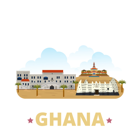 Ghana country flat cartoon style historic sight showplace web site vector illustration. World vacation travel sightseeing Africa fcollection. Cape Coast Castle University of Ghana Larabanga Mosque. Illustration