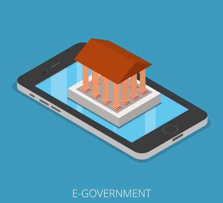 antic: Isometric E-government Tablet Phone Mobile business concept. Flat 3d isometry web site conceptual vector illustration. Creative people collection. Ancient building with columns stands on smartphone.