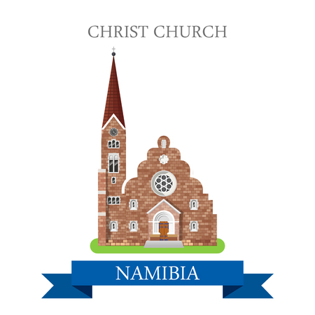 points of interest: Christ Church in Windhoek in Namibia. Flat cartoon style historic sight showplace attraction web site vector illustration. World countries cities vacation travel sightseeing Africa collection.
