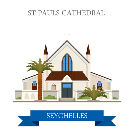 St Pauls Cathedral in Victoria in Seychelles. Flat cartoon style historic sight showplace attraction web site vector illustration. World countries cities vacation travel sightseeing Africa collection