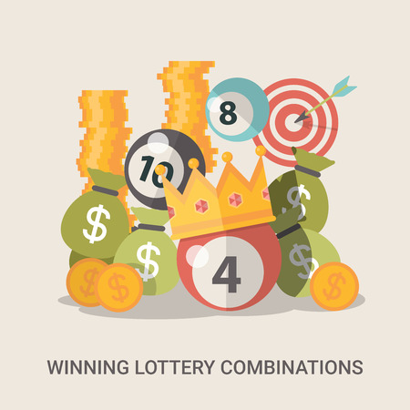 Success concept vector illustration. Flat style Lucky life web site banner image. Fortune money bag rich lotto coins dollars crown ball background. Winning lottery combination. Vettoriali