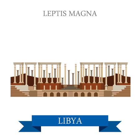 roman: Leptis Magna en Libia Trípoli. estilo de dibujos animados plana de vista histórico ilustración escaparate sitio de atracción de vectores web. Viajes mundiales países ciudades vacaciones de turismo colección África.