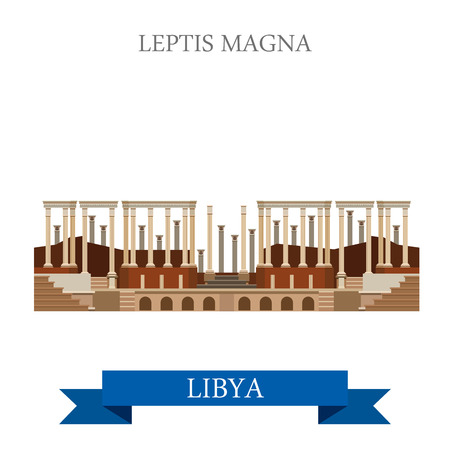 ancient roman: Leptis Magna in Tripoli Libya. Flat cartoon style historic sight showplace attraction web site vector illustration. World countries cities vacation travel sightseeing Africa collection.