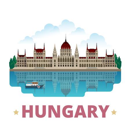 plantilla de diseño del imán país Hungría. estilo de dibujos animados plana vista escaparate histórico ilustración vector sitio web. viajes de vacaciones mundo Visitas colección europea Europa. Kossuth Lajos Square.
