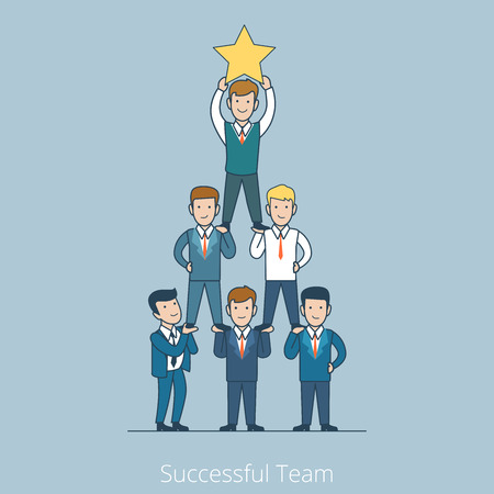 line work: Successful Team men pyramid with star in hands. Teamwork Linear flat line art style business people concept. Conceptual businesspeople team work vector illustration collection. Man support level. Illustration