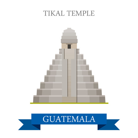 vacation: Tikal Temple in Guatemala. Flat cartoon style historic sight showplace attraction web site vector illustration. World countries cities vacation travel sightseeing Central America collection.