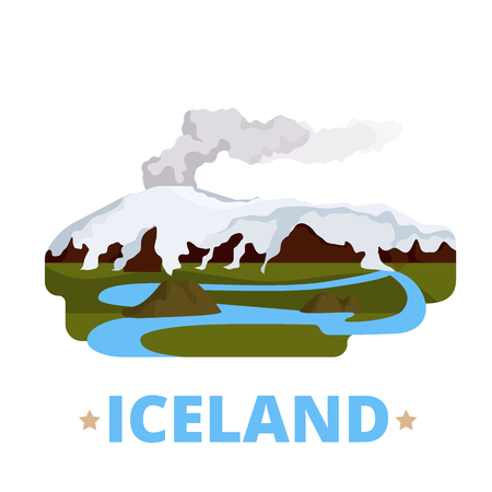 cartoon volcano: Iceland country magnet design template. Flat cartoon style historic sight showplace web vector illustration. World vacation travel sightseeing Europe European collection. Eyjafjallajokull volcano.
