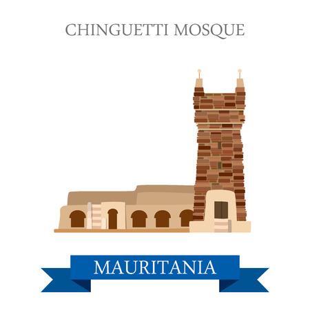 モーリタニアのシンゲッティ モスク。フラット漫画スタイル歴史的名所観光名所アトラクション web サイト ベクトル イラスト。世界の国々 の都市