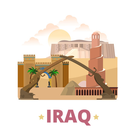 minaret: Iraq country design template. Flat cartoon style historic showplace web site vector illustration. World travel Asia Asian collection. Mudhafaria Minaret Great Ziggurat Ur National Museum Victory Arch.