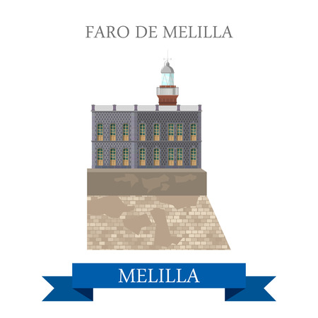 breakage: Faro de Melilla. Flat cartoon style historic sight showplace attraction web site vector illustration. World countries cities vacation travel sightseeing Africa collection.
