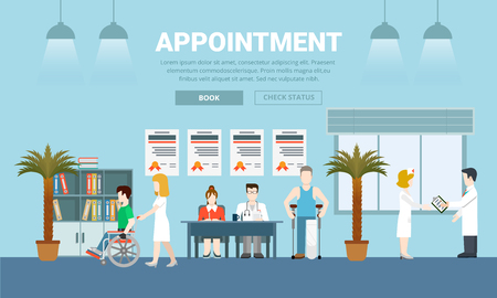 appointment: Medicine health care appointment creative flat design vector illustration. Medical institution help diagnostic centre template. Visit to doctor patient man crutches nurse wheelchair on blue background