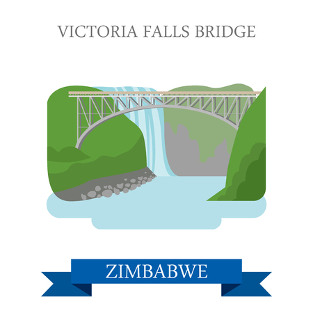 Victoria Falls Bridge in Zimbabwe. Flat cartoon style historic sight showplace attraction web site vector illustration. World countries cities vacation travel sightseeing Africa collection.