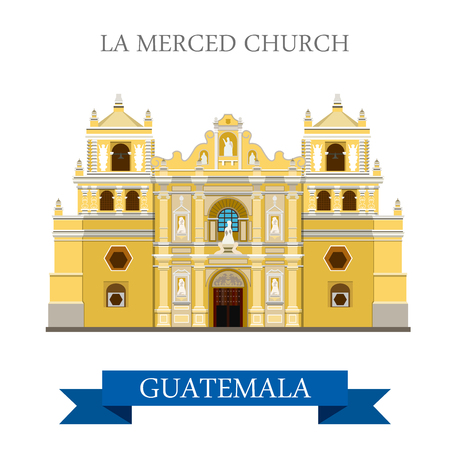 La Merced Church Antigua in Guatemala. Flat cartoon style historic sight showplace attraction web site vector illustration. World countries cities travel sightseeing Central America collection.