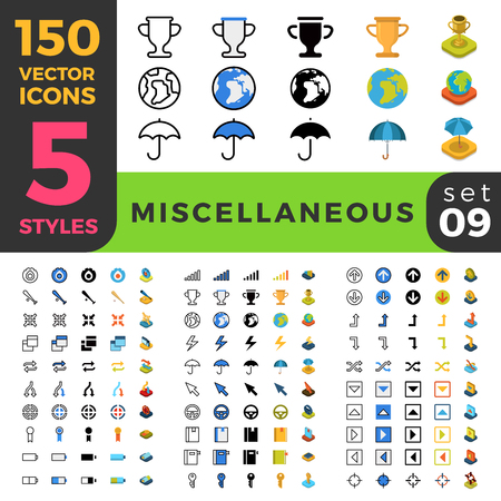 150 miscellaneous sport win misc ui icon set. Linear outline flat isometric 5 styles icons. Vector mobile app application software interface web site element sign symbol 2d 3d object collection. Illustration