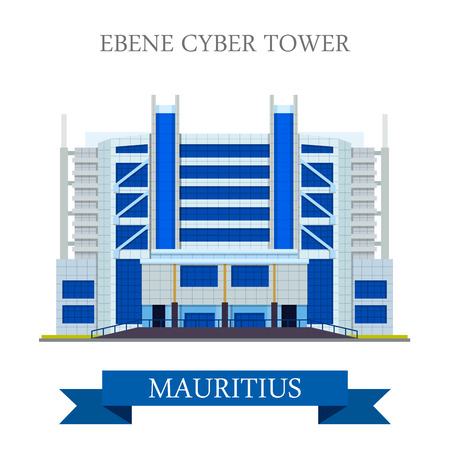 points of interest: Ebene Cyber Tower in Mauritius. Flat cartoon style historic sight showplace attraction web site vector illustration. World countries cities vacation travel sightseeing Africa island nation collection.