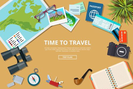 trip: Time to travel agency web site flyer brochure mockup vector illustration. Trip plan to visit countries cities landmarks. Vacation tourism map passport credit card camera compass notebook knife ticket