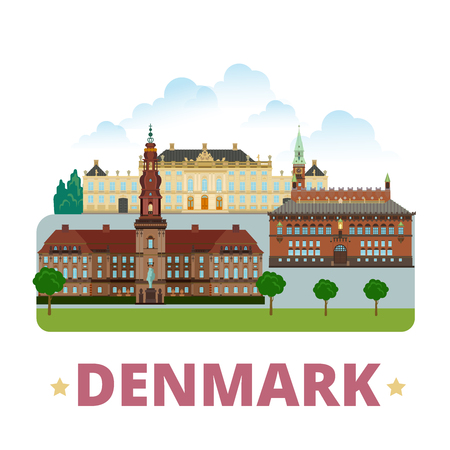 vacation: Denmark country design template. Flat cartoon style historic sight showplace vector illustration. World vacation travel Europe European collection. Christiansborg Palace Amalienborg City Hall Square.