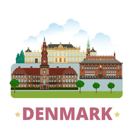 cartoon style: Denmark country design template. Flat cartoon style historic sight showplace vector illustration. World vacation travel Europe European collection. Christiansborg Palace Amalienborg City Hall Square.