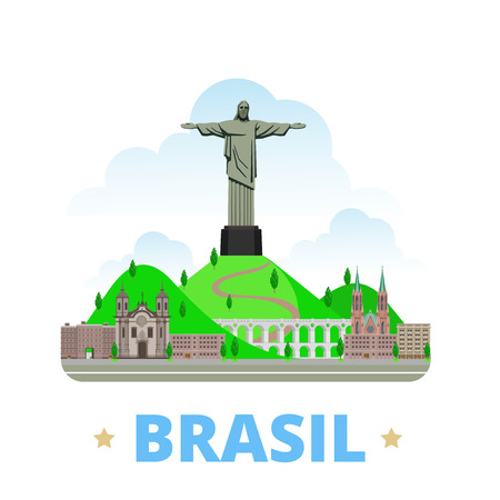 Brazil country flat cartoon style historic sight showplace web site vector illustration. World vacation travel South America collection. Christ the Redeemer Statue Sao Paulo Cathedral Carioca Aqueduct Vettoriali