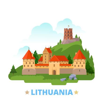 Lithuania country magnet design template. Flat cartoon style historic sight showplace web vector illustration. World vacation travel Europe European collection. Trakai Island Castle Gediminas Tower.