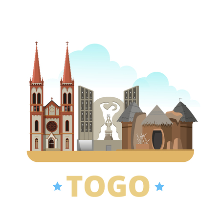 web site design template: Togo country design template. Flat cartoon style historic sight web site vector illustration. World vacation travel Africa African collection. Tamberma Villages Lome Cathedral Independence monument.