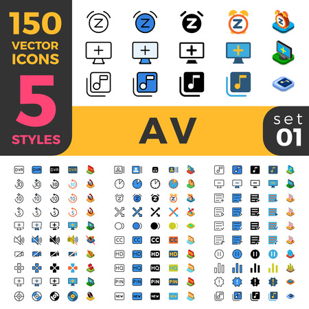 big five: 150 AV Audio Video big ui icon set. Linear outline flat isometric 5 styles icons. Five style vector mobile app application software user interface web site element sign symbol 2d 3d object collection.