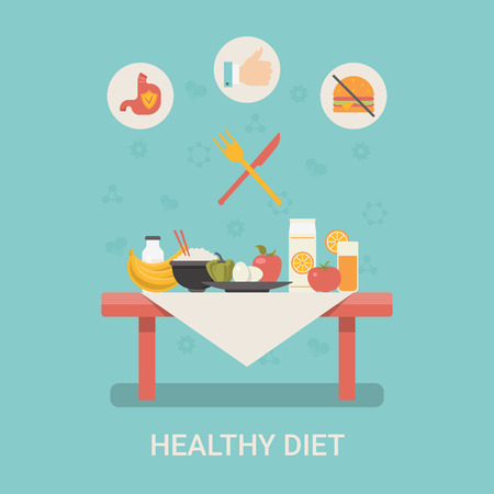 rope folk: Healthy life concept vector illustration set. People sports health farm fresh food web site banner image. Diet Table Fruit dairy Infographics on blue background.