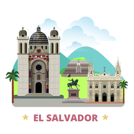 El Salvador country flat cartoon style historic sight showplace web vector illustration. World vacation travel America collection. San Salvador Cathedral of Santa Ana Tazumal Gerardo Barrios Statue