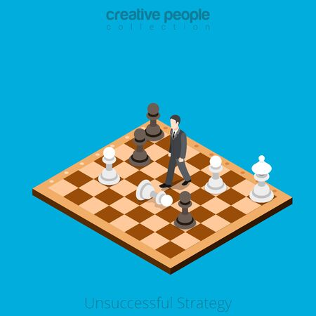 isometry: Isometric Unsuccessful business Strategy concept. Flat 3d isometry style web site vector illustration. Creative people collection. Man moves on chess board wrong combination pawn white black.