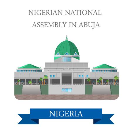 Assemblea Nazionale della Nigeria ad Abuja. stile cartone animato piatto storico vista vetrina illustrazione sito web attrazione vettore. World Travel Paesi Città vacanza visitare collezione Africa. Archivio Fotografico - 58836071