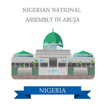 senate: National Assembly of Nigeria in Abuja. Flat cartoon style historic sight showplace attraction web site vector illustration. World countries cities vacation travel sightseeing Africa collection. Illustration