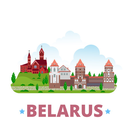 web template: Belarus country design template. Flat cartoon style web site vector illustration. World vacation travel sightseeing Europe European collection. Mirsky Castle Complex Church of Saints Simon and Helena Illustration