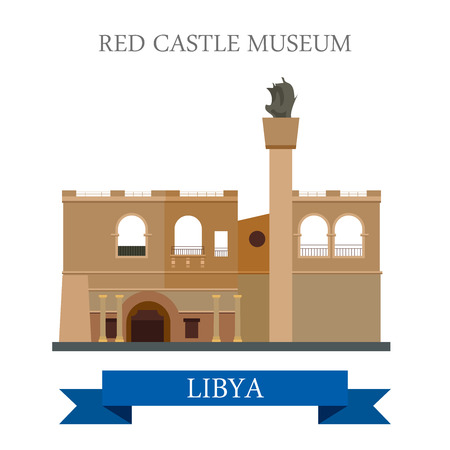 sightseeings: Red Castle Museum in Tripoli Libya. Flat cartoon style historic sight showplace attraction web site vector illustration. World countries cities vacation travel sightseeing Africa collection. Illustration
