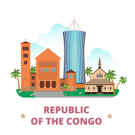 southern: Republic of the Congo country flat cartoon style historic sight showplace web site vector illustration. World vacation travel Africa collection. Nabemba Tower Cathedral of Lubumbashi Eglise CBFC-Gombe Illustration