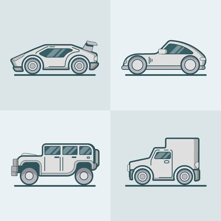 lineart: Sportscar supercar  SUV van lineart line art road transport set. Linear multicolor stroke outline flat style vector icons. Monochrome color icon collection.