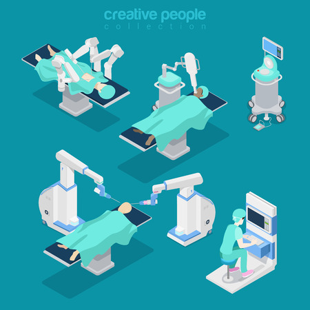 computer equipment: Robotic robot-assisted brain surgery medical hospital healthcare computer electronic modern equipment doctor operator. Flat 3d isometry style web site vector illustration. Creative people collection