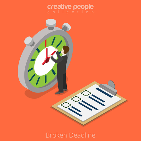 time limit: Isometric Broken Deadline over limit business concept. Flat 3d isometry style web site vector illustration. Creative people collection. Man hold timer arrow stopwatch watch stop time overtime timeless Illustration