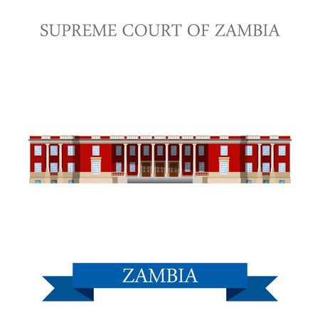 points of interest: Supreme Court of Zambia. Flat cartoon style historic sight showplace attraction web site vector illustration. World countries cities vacation travel sightseeing Africa collection.