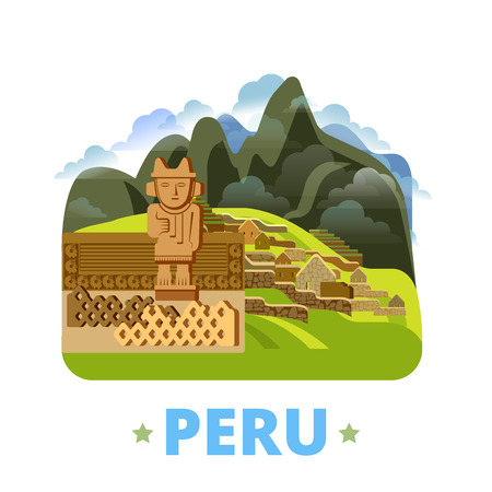 Peru country design template. Flat cartoon style historic sight showplace web site vector illustration. World vacation travel sightseeing South America collection. Chan Chan in Trujillo Machu Picchu.
