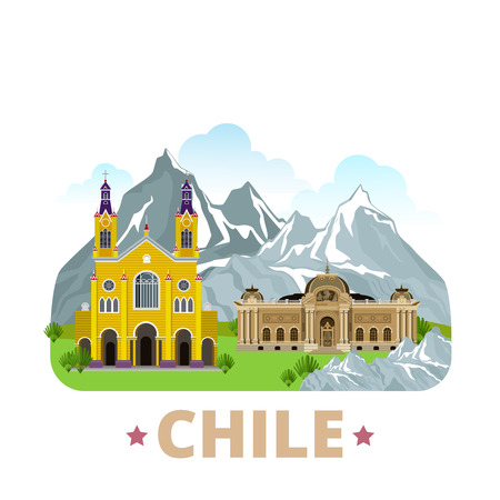 チリ国バッジ冷蔵庫マグネット デザイン テンプレートです。フラット漫画スタイル歴史的名所観光名所 web サイト ベクトル イラスト。世界の休暇