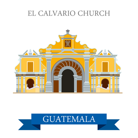 church building: El Calvario Church Cobán in Guatemala. Flat cartoon style historic sight showplace attraction web site vector illustration. World countries cities travel sightseeing Central America collection.