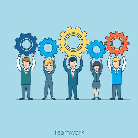 team hands: Teamwork Businessman Businesswoman gearwheel in hands. Linear flat line art style business people concept. Conceptual businesspeople team work vector illustration collection.