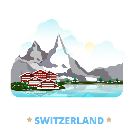 web site design template: Switzerland country magnet design template. Flat cartoon style historic sight showplace web site vector illustration. World vacation travel sightseeing Europe European collection. Matterhorn Gstaad.