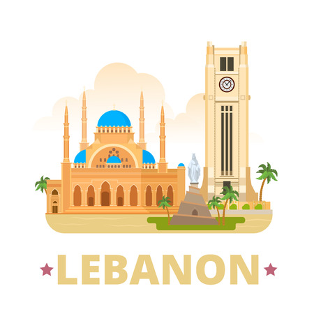 cartoon clock: Lebanon country design template. Flat cartoon style historic web site vector illustration. World travel sightseeing Asia collection. Beirut Clock Tower Mohammad Al-Amin Mosque Our Lady Statue Monument