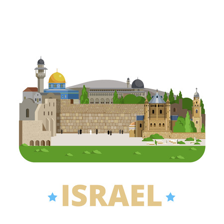 israel jerusalem: Israel country design template. Flat cartoon style historic showplace web site vector illustration. World travel sightseeing Asia Asian collection. Jerusalem Old City Zion Al-Aqsa Mosque Wall of Tears