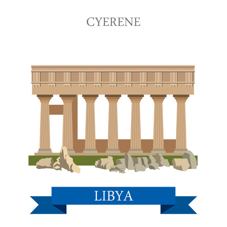 point of interest: Cyrene in Libya. Flat cartoon style historic sight showplace attraction web site vector illustration. World countries cities vacation travel sightseeing Africa collection.