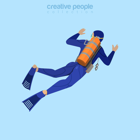 aqualung: Isometric diver in aqualung back view. Flat 3d isometry style. Creative people collection.