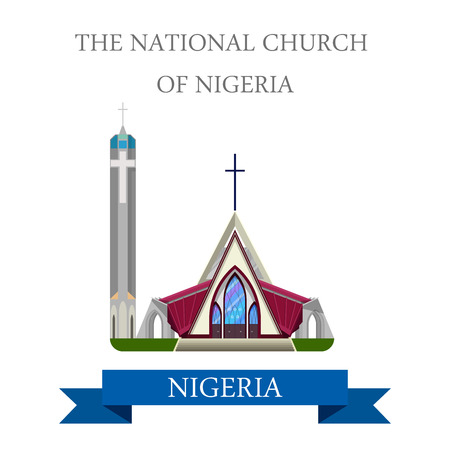 church building: The National Church of Nigeria. Flat cartoon style historic sight showplace attraction web site vector illustration. World countries cities vacation travel sightseeing Africa collection.